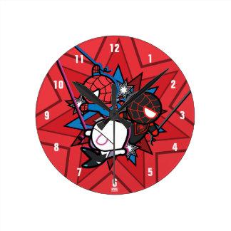 Kawaii Spider-Man, Spider-Gwen, & Miles Morales Round Clock