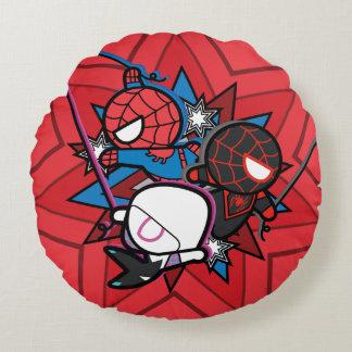 Kawaii Spider-Man, Spider-Gwen, & Miles Morales Round Cushion