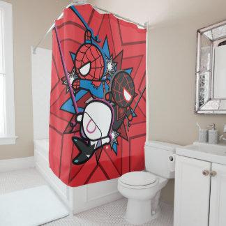 Kawaii Spider-Man, Spider-Gwen, & Miles Morales Shower Curtain