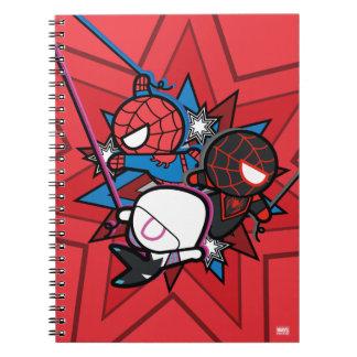 Kawaii Spider-Man, Spider-Gwen, & Miles Morales Spiral Notebook