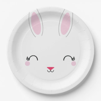 kawaii SPRING BUNNY birthday party plate 9 Inch Paper Plate