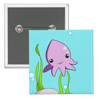 Kawaii Squid 15 Cm Square Badge