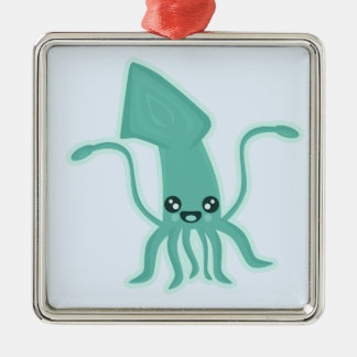 Kawaii Squid Silver-Colored Square Decoration