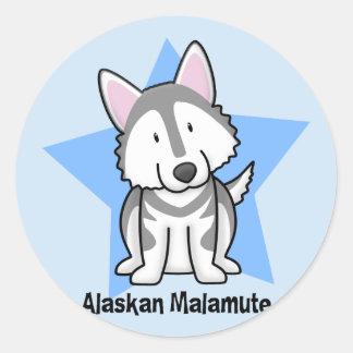 Kawaii Star Alaskan Malamute Classic Round Sticker