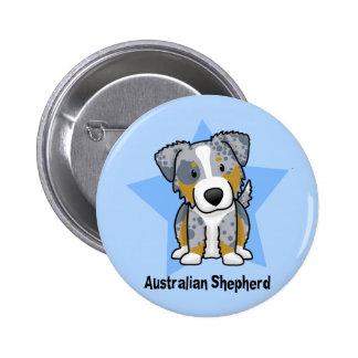 Kawaii Star Blue Merle Australian Shepherd 6 Cm Round Badge
