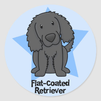 Kawaii Star Flat Coated Retriever Classic Round Sticker