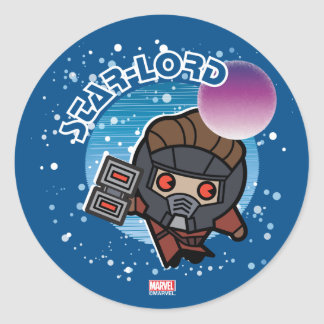 Kawaii Star-Lord In Space Classic Round Sticker