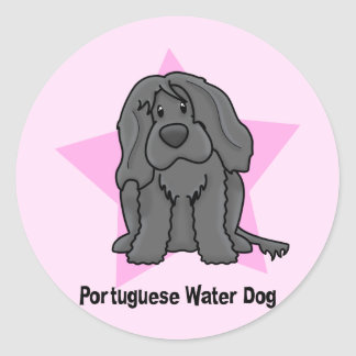 Kawaii Star Portuguese Water Dog Classic Round Sticker