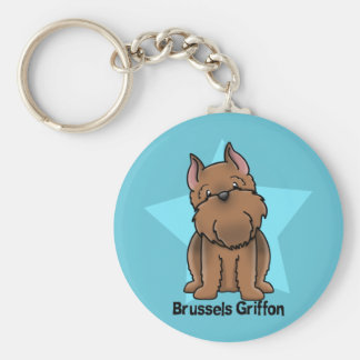 Kawaii Star Red Cropped Brussels Griffon Key Ring