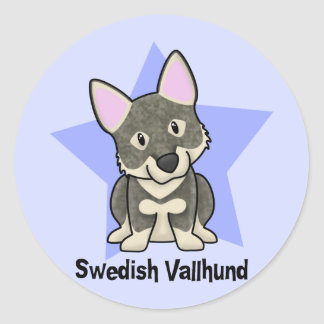 Kawaii Star Swedish Vallhund Classic Round Sticker
