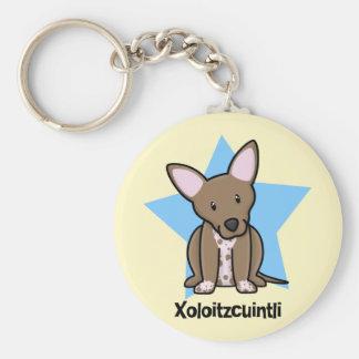 Kawaii Star Xoloitzcuintli Basic Round Button Key Ring