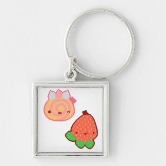 Kawaii Strawberry and Cake Keyring Silver-Colored Square Key Ring