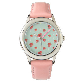 Kawaii Strawberry and Flowers Wrist Watches