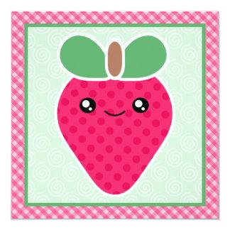 Kawaii Strawberry Birthday Party Invitations