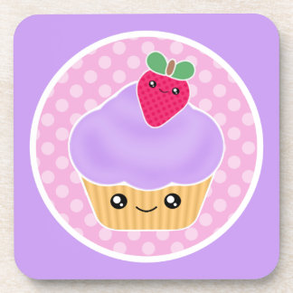 Kawaii Strawberry Cupcake Cork Coaster Set