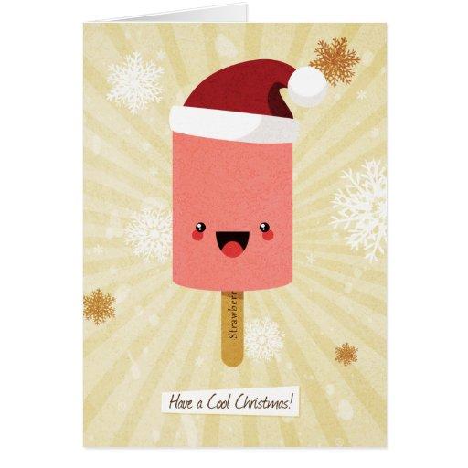 Kawaii Strawberry Ice Lolly Christmas Card