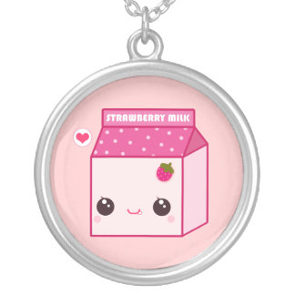 Kawaii strawberry milk carton silver plated necklace