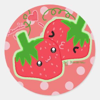 Kawaii Strawberry Round Sticker