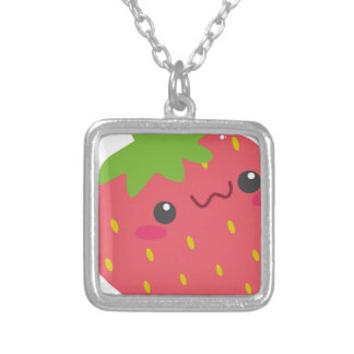 Kawaii Strawberry Silver Plated Necklace