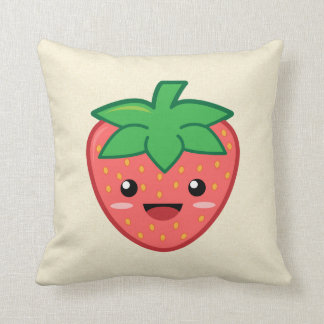 Kawaii Strawberry Throw Pillow