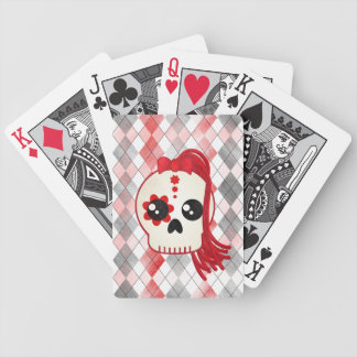 Kawaii Style Cyberpunk Emo Skull on Red Argyle Bicycle Playing Cards