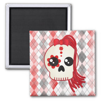 Kawaii Style Cyberpunk Emo Skull on Red Argyle Square Magnet