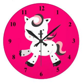 Kawaii Style Pony Theme Large Clock