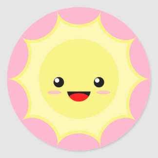 Kawaii Sun Classic Round Sticker