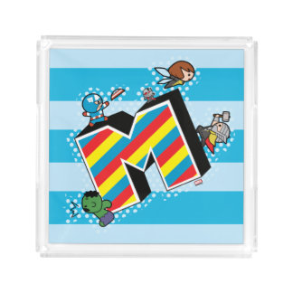 Kawaii Super Heroes on Striped M Acrylic Tray