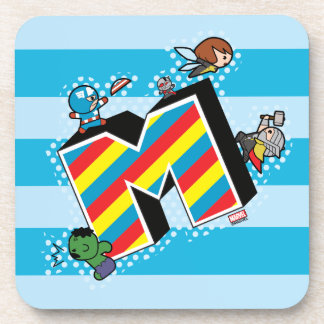 Kawaii Super Heroes on Striped M Coaster