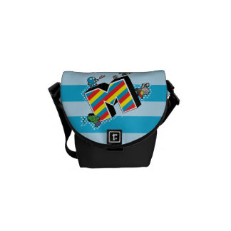 Kawaii Super Heroes on Striped M Commuter Bags