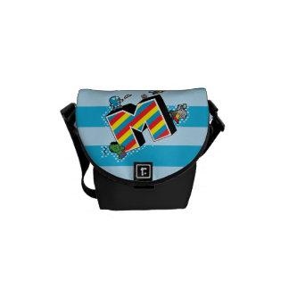 Kawaii Super Heroes on Striped M Courier Bag