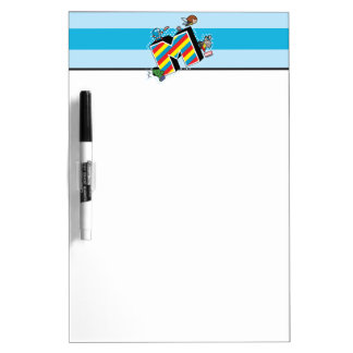 Kawaii Super Heroes on Striped M Dry Erase Board