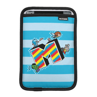 Kawaii Super Heroes on Striped M iPad Mini Sleeve