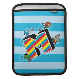 Kawaii Super Heroes on Striped M iPad Sleeve