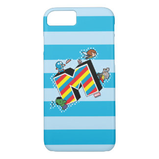 Kawaii Super Heroes on Striped M iPhone 8/7 Case