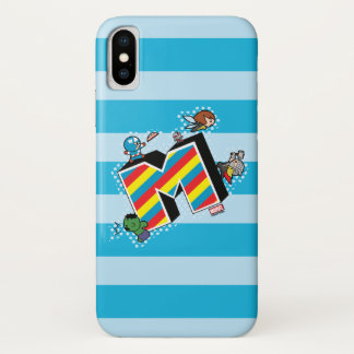 Kawaii Super Heroes on Striped M iPhone X Case