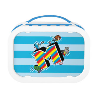 Kawaii Super Heroes on Striped M Lunch Box