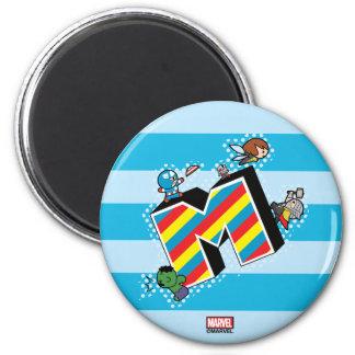 Kawaii Super Heroes on Striped M Magnet