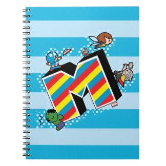 Kawaii Super Heroes on Striped M Notebooks