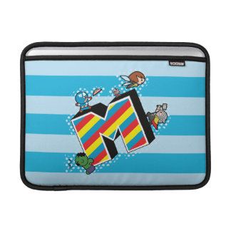 Kawaii Super Heroes on Striped M Sleeve For MacBook Air