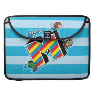 Kawaii Super Heroes on Striped M Sleeve For MacBooks