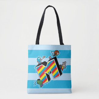 Kawaii Super Heroes on Striped M Tote Bag