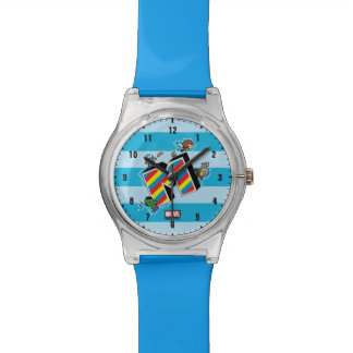Kawaii Super Heroes on Striped M Watch