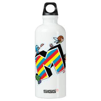 Kawaii Super Heroes on Striped M Water Bottle