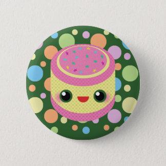Kawaii  Sweet Custard Cake on Mod Bubble Dots 6 Cm Round Badge