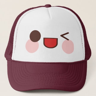 Kawaii Sweet Winky Face Happy Eyes Smile Friend Trucker Hat