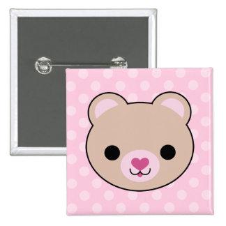 Kawaii Teddy Bear Pink Polka Dots Pinback Buttons