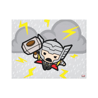 Kawaii Thor With Lightning Canvas Print