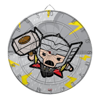 Kawaii Thor With Lightning Dartboard